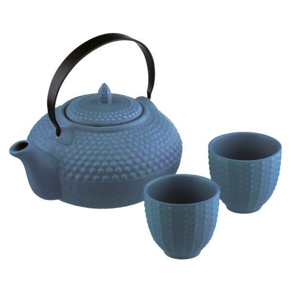 Oriental Hobnail Teapot & 2 Cups Mizu Blue by BIA