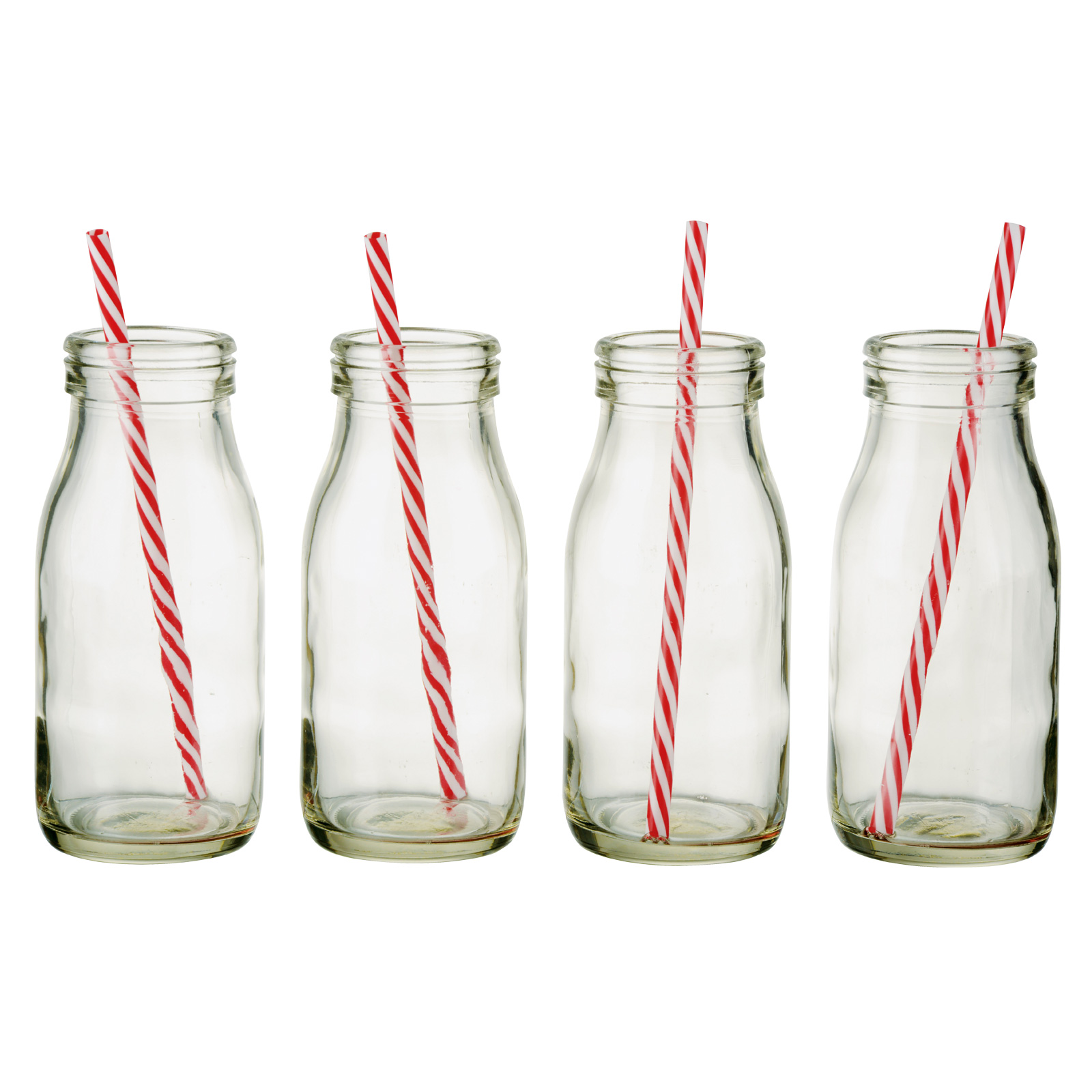 Set of 4 Retro Milk Bottles with Straws by Artland
