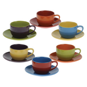 Set of 6 Harlequin Espresso Cups & Saucers by BIA