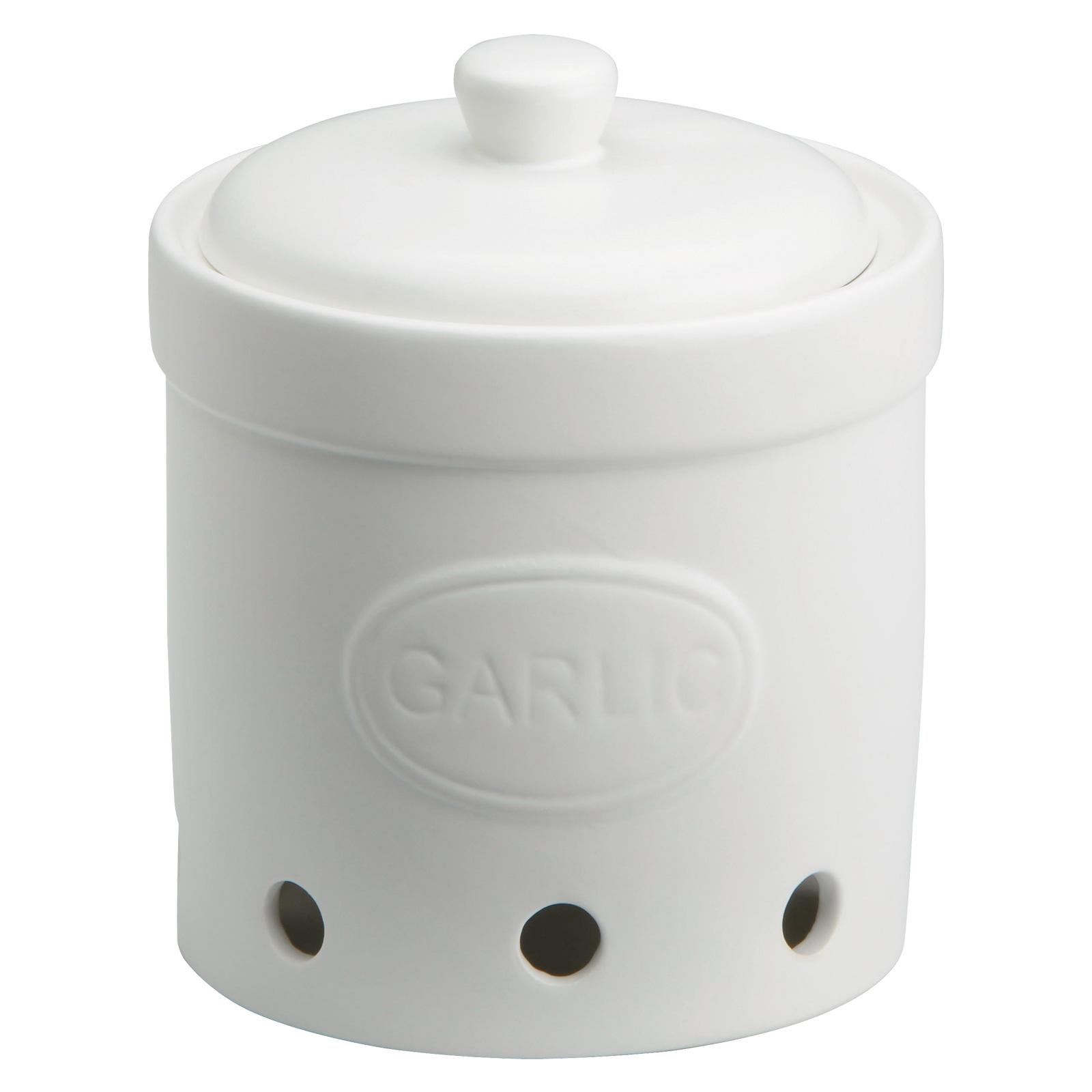 Garlic Storage Jar Matte White by BIA