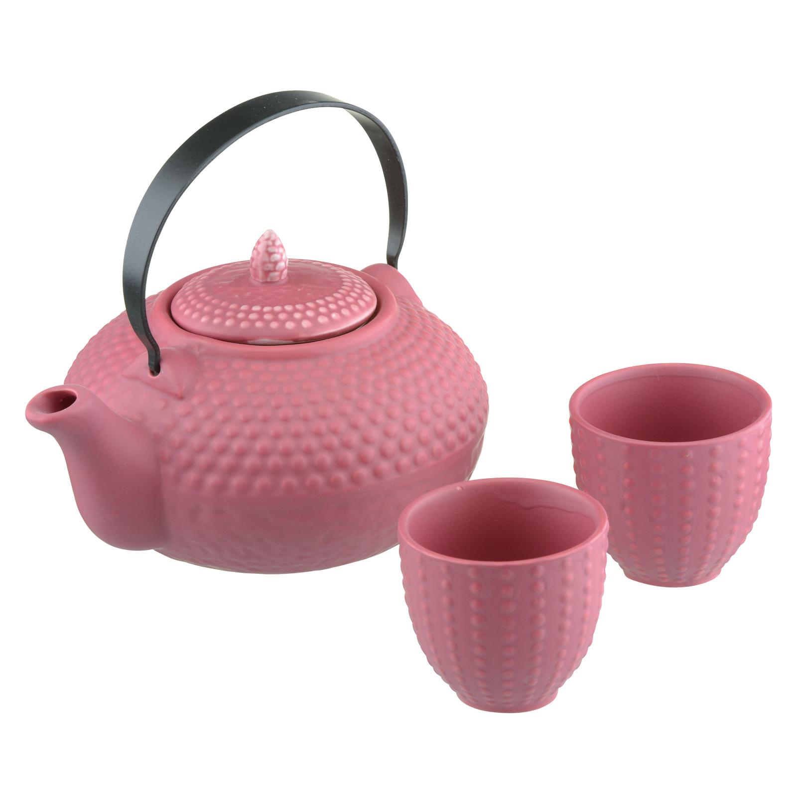 Oriental Hobnail Teapot & 2 Cups Kimono Pink by BIA