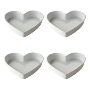 Set of 4 Heart Dishes Small White by BIA