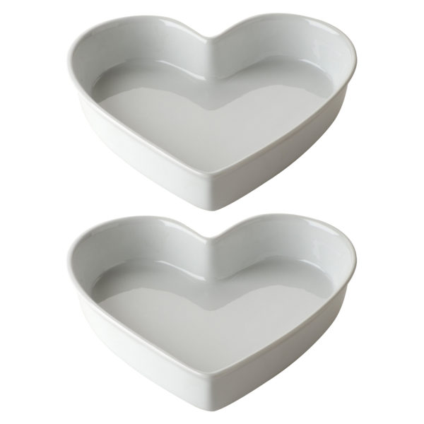 Set of 2 Heart Dishes Large White by BIA
