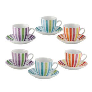 Set of 6 Dolce Vita Espresso Cups & Saucers by BIA