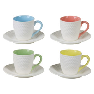 Set of 4 Geo Espresso Cups & Saucers by BIA