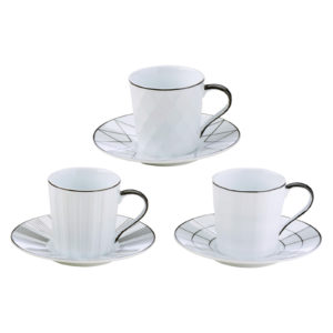 Set of 3 Lux Espresso Cups & Saucers Black by BIA