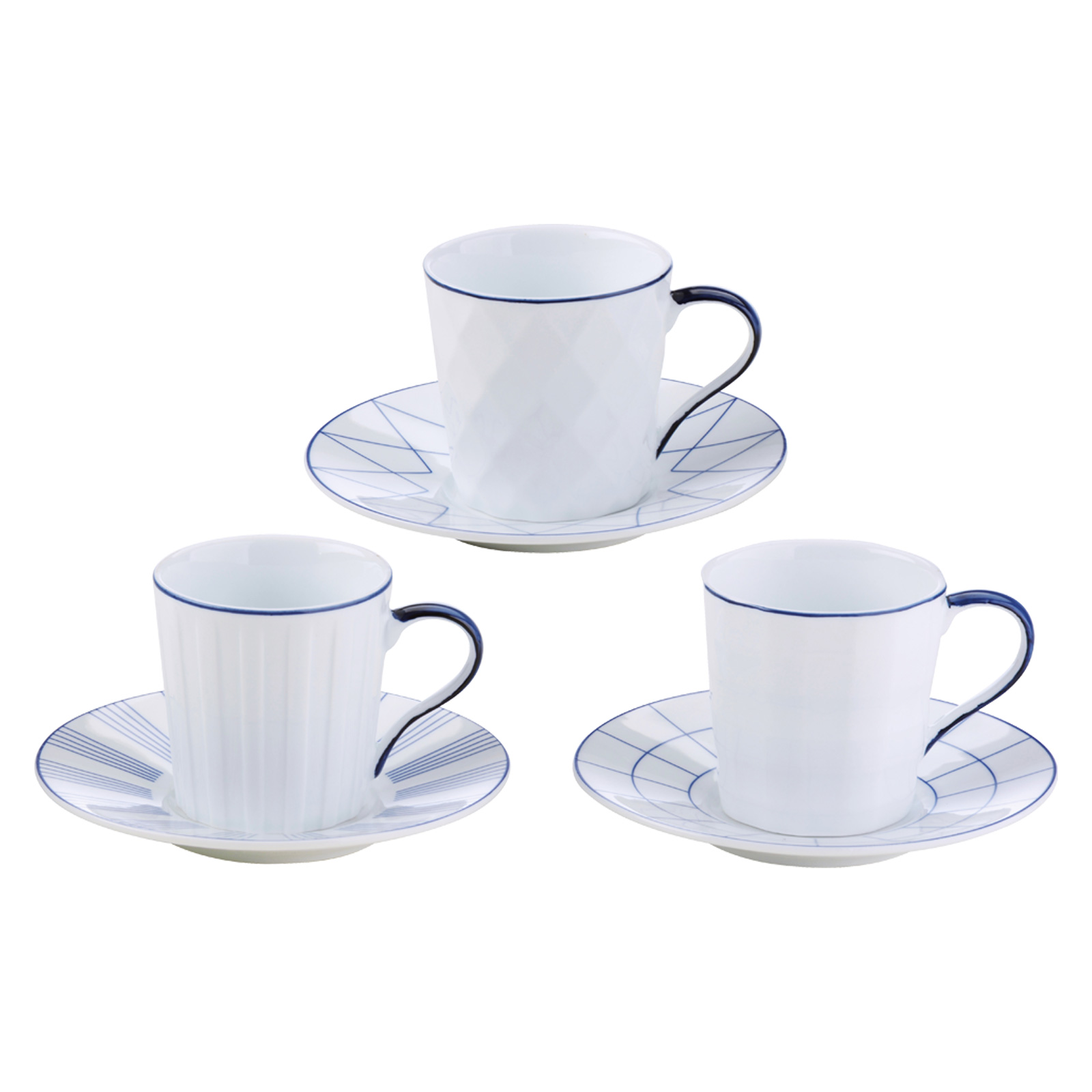 Set of 3 Lux Espresso Cups & Saucers Blue by BIA
