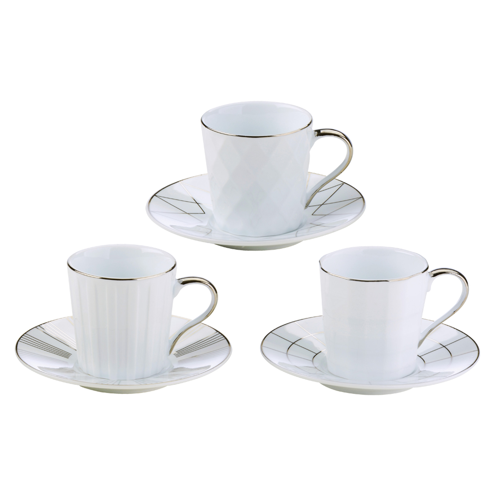Set of 3 Lux Espresso Cups & Saucers Silver by BIA