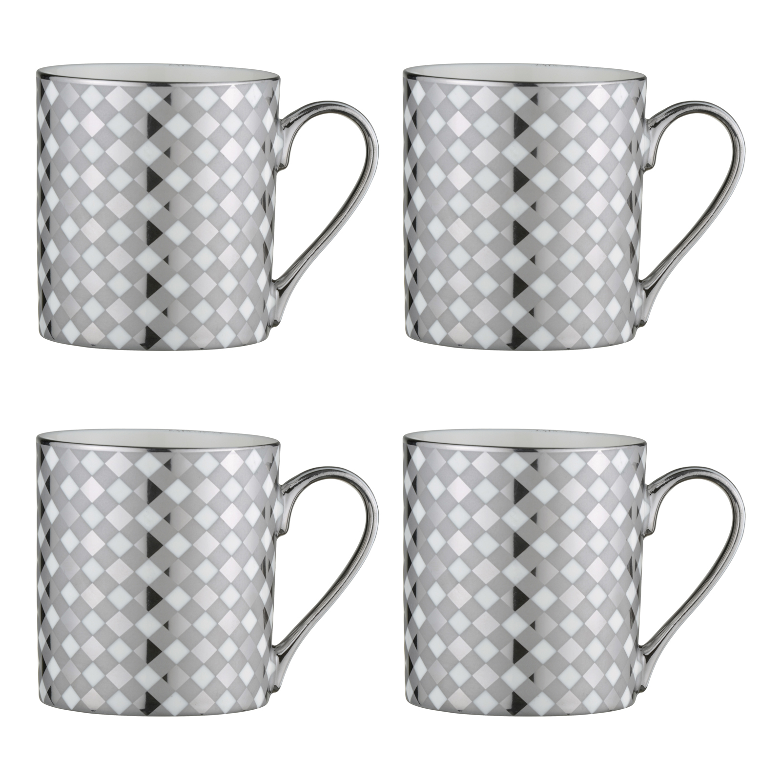 Set of 4 Tartan Mugs Platinum by BIA