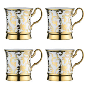 Set of 4 Lattice Mugs Gold by BIA
