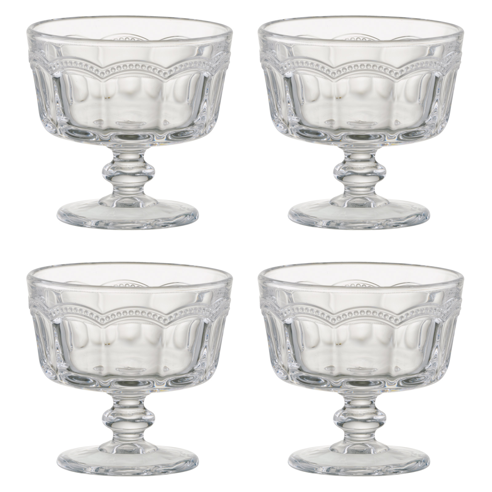 Set of 4 Pearl Ridge Mini Trifle Bowls by Artland