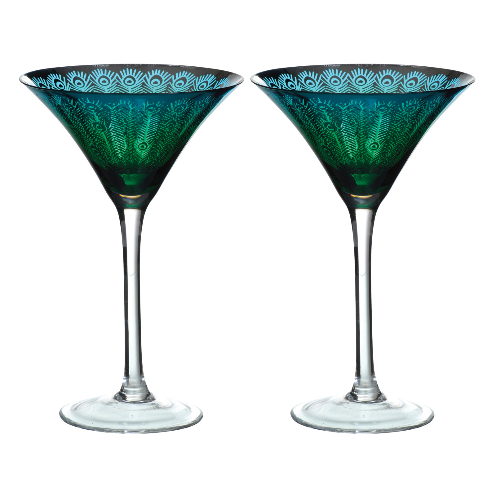Set of 2 Peacock Martini glasses by Artland