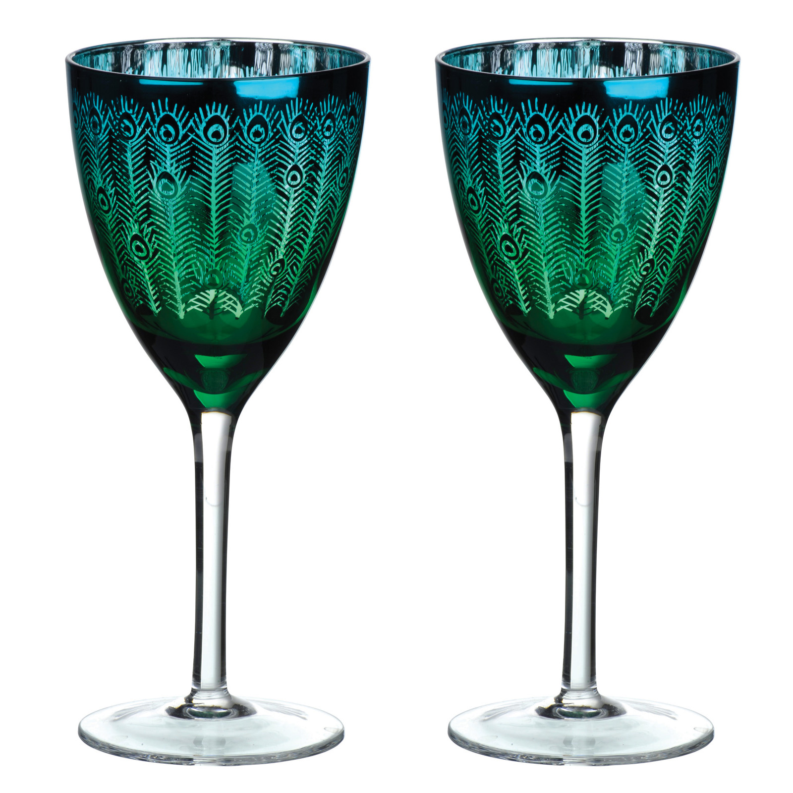 Set of 2 Peacock Wine glasses by Artland
