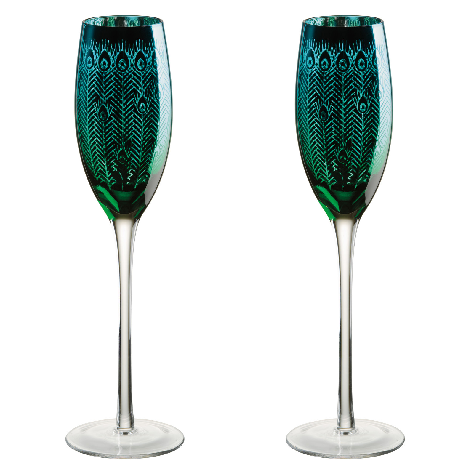 Set of 2 Peacock flutes by Artland