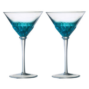 Set of 2 Solar Cocktail Glasses Blue by Anton Studio Designs