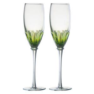 Set of 2 Solar Champagne Flutes Green by Anton Studio Designs