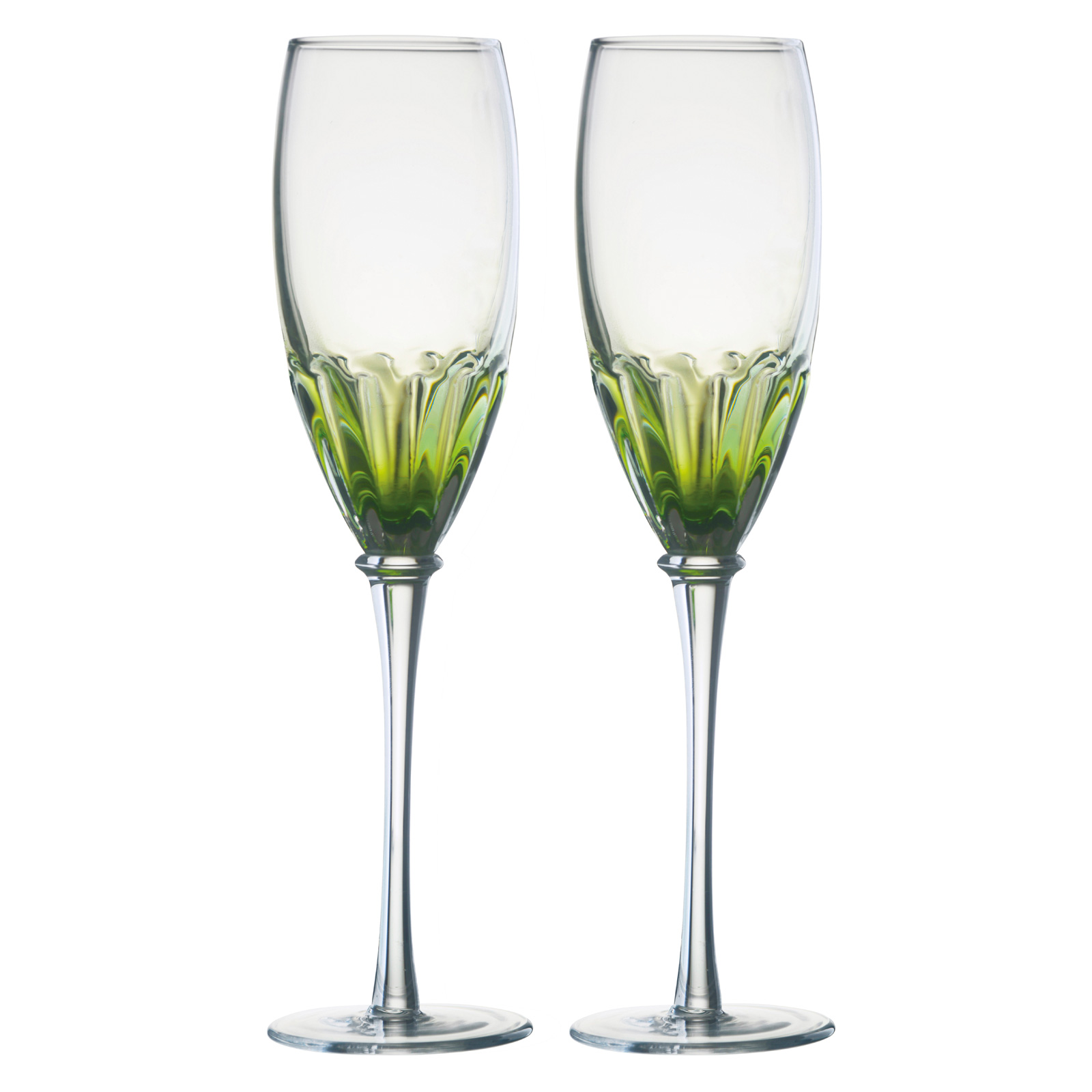Set of 2 Solar Champagne Flutes Green by Anton Studio Designs