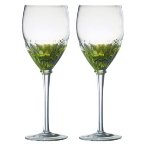 Set of 2 Solar Wine Glasses Green by Anton Studio Designs