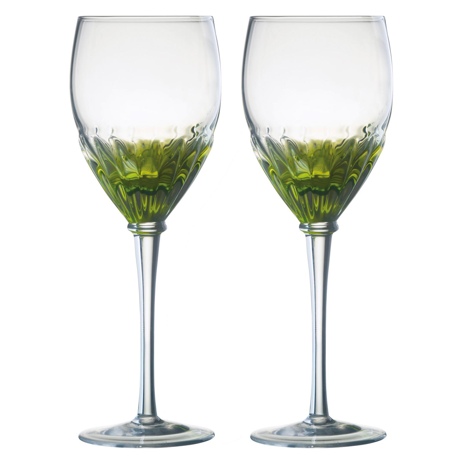 Set of 2 Solar Wine Glasses Green by Anton Studio Designs