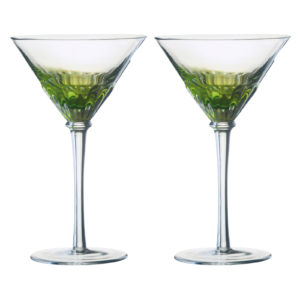 Set of 2 Solar Cocktail Glasses Green by Anton Studio Designs