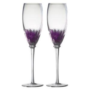 Set of 2 Solar Champagne Flutes Purple by Anton Studio Designs