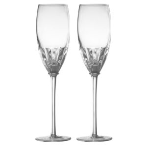 Set of 2 Solar Champagne Flutes Clear by Anton Studio Designs