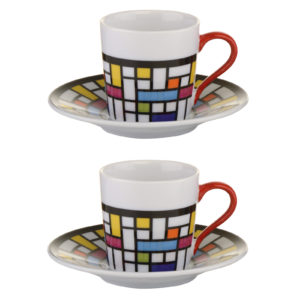 Set of 2 Mosaic Espresso Cups and Saucers by BIA