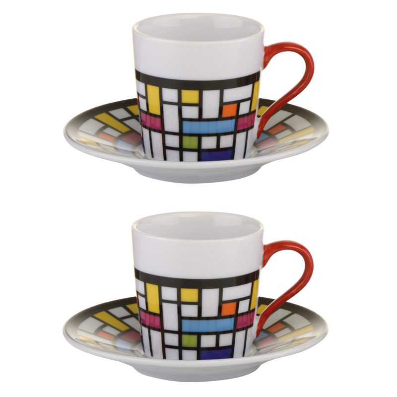 set of 2 mosaic espresso cups and saucers by bia not just jugs