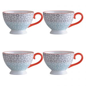 Set of 4 Jasmine Espresso Cups - Yellow & Red by BIA