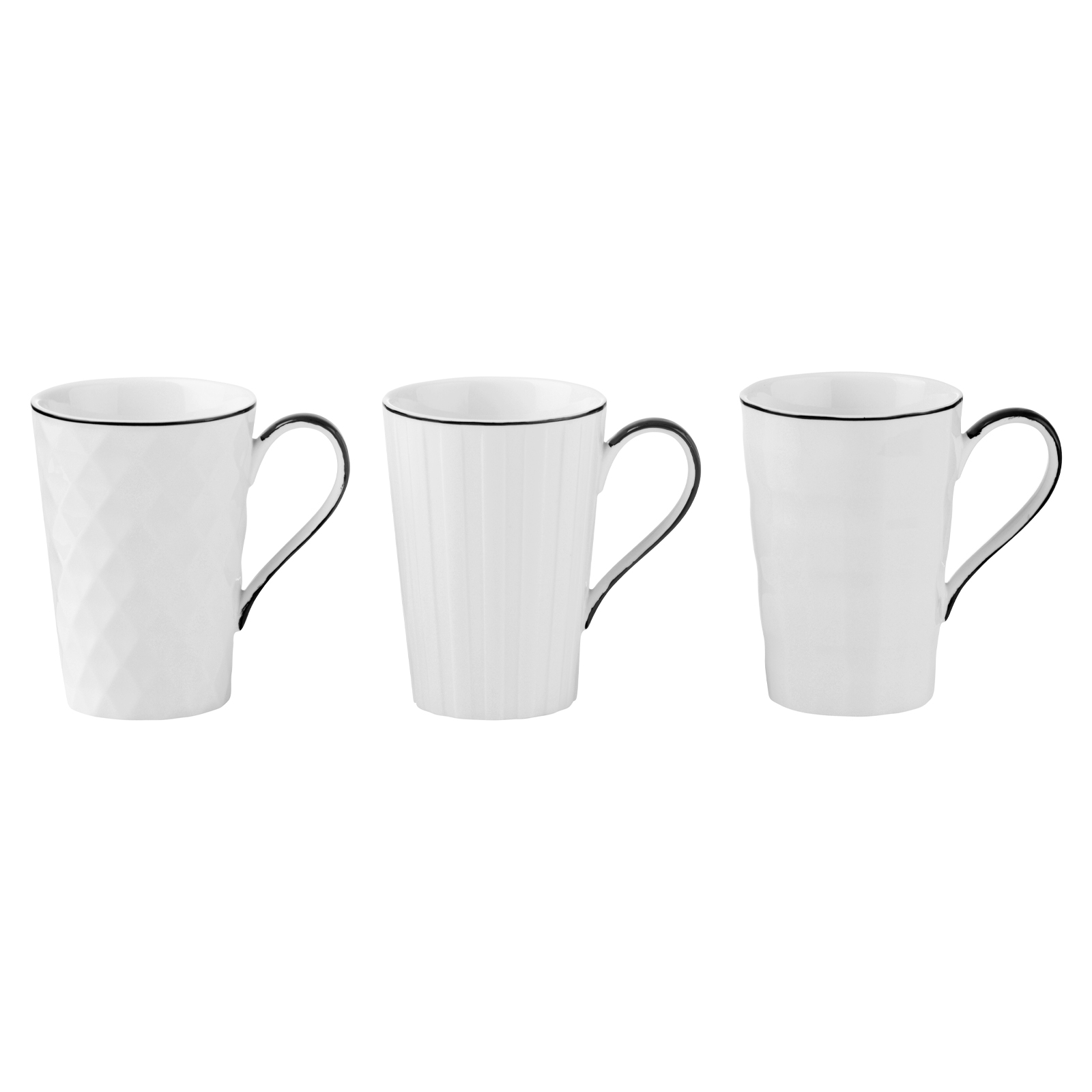 Set of 3 Lux Mugs Black by BIA