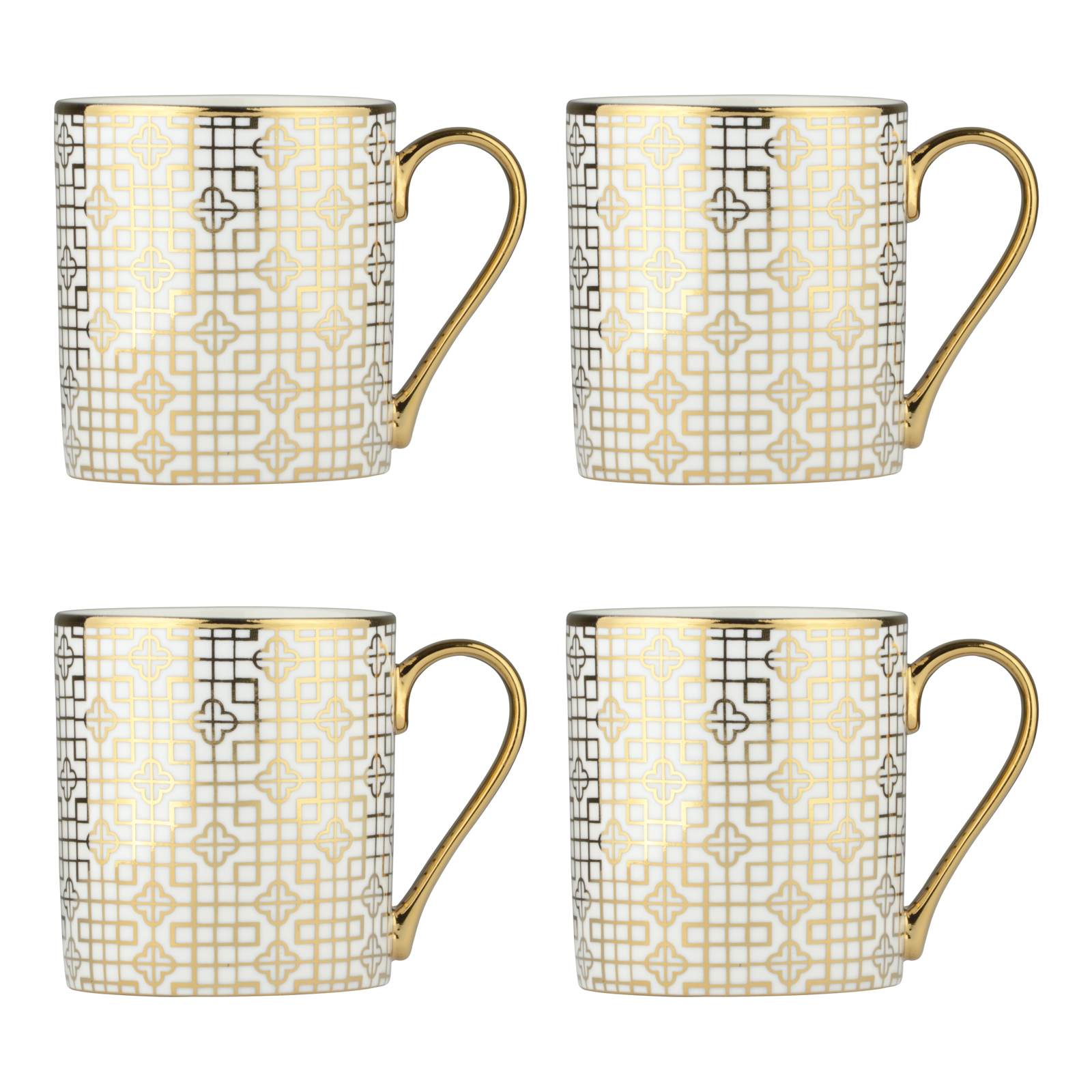 Set of 4 Art Deco Gold Mugs