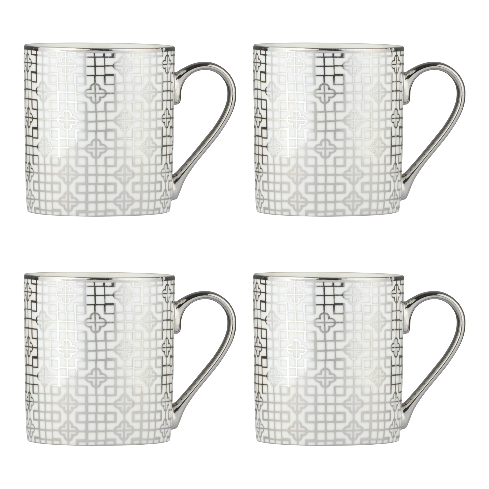 Set of 4 Art Deco Platinum Mugs