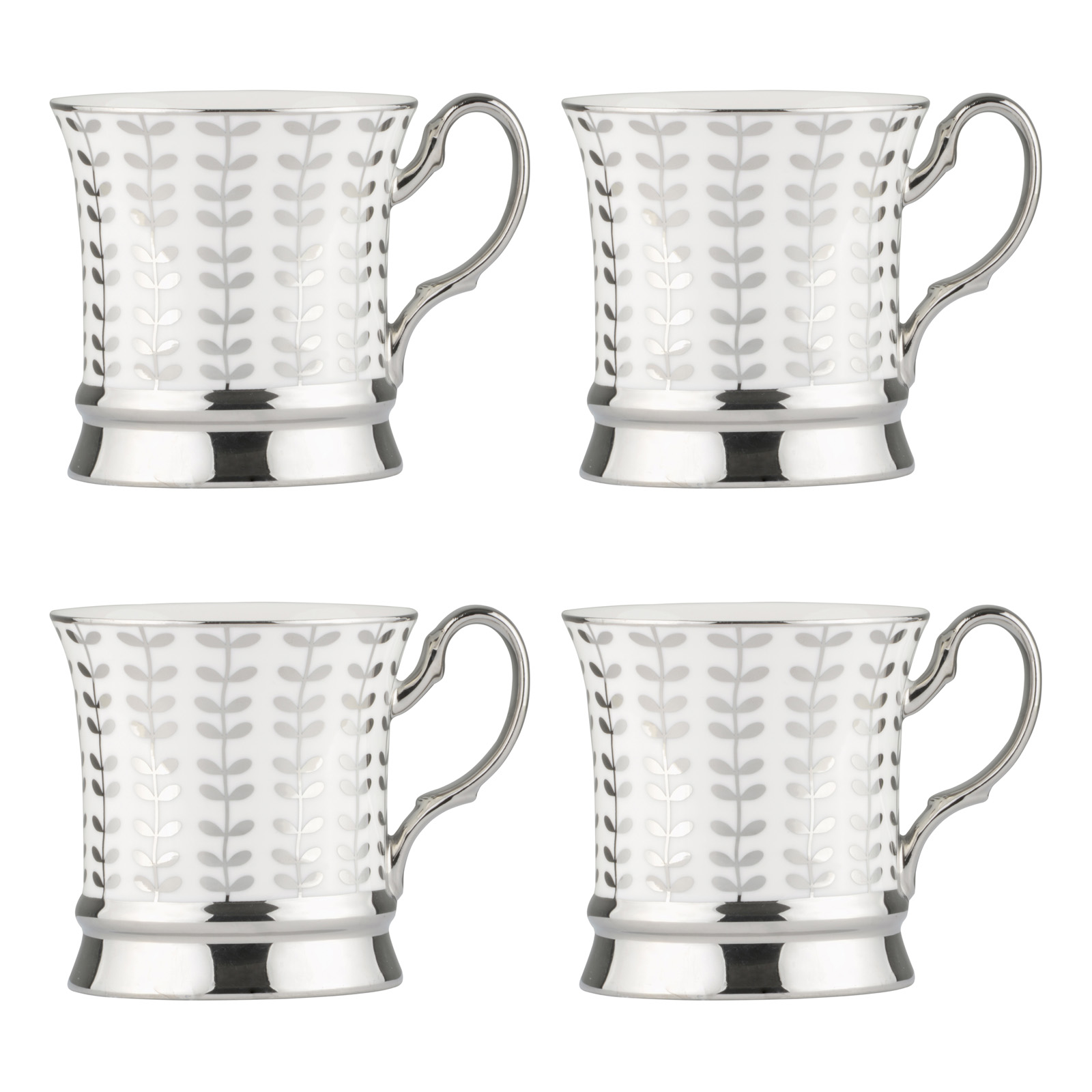 Set of 4 Vine Platinum Mugs