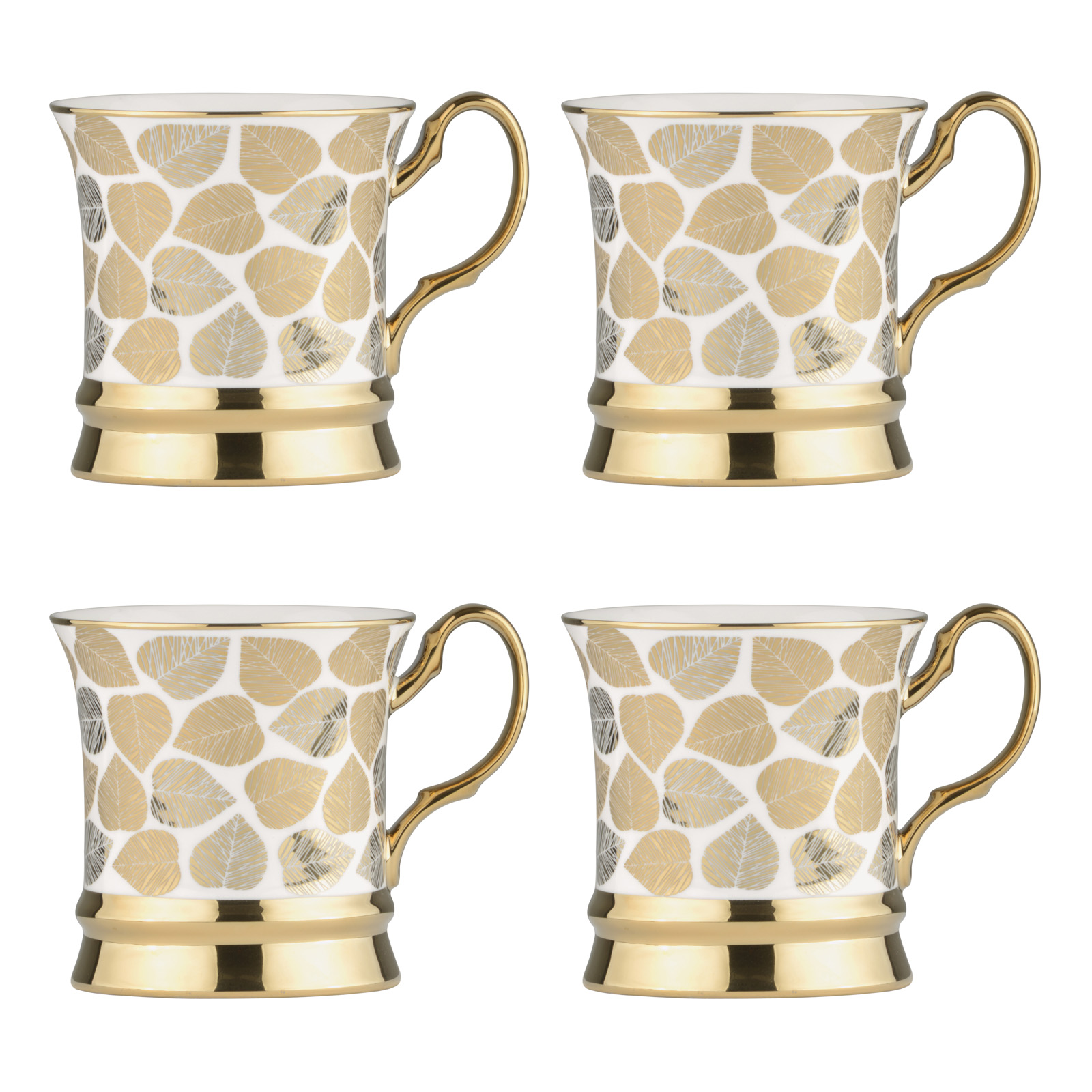 Set of 4 Leaf Gold Mugs