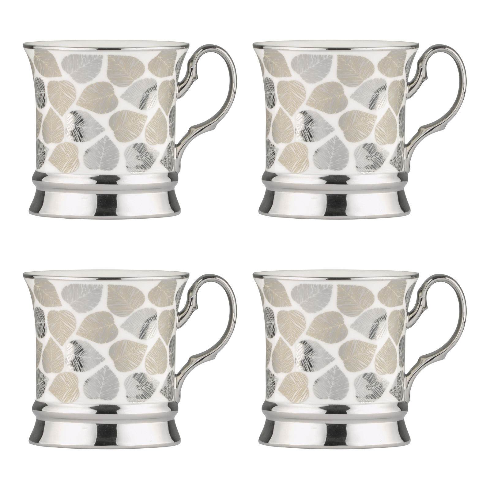Set of 4 Leaf Platinum Mugs
