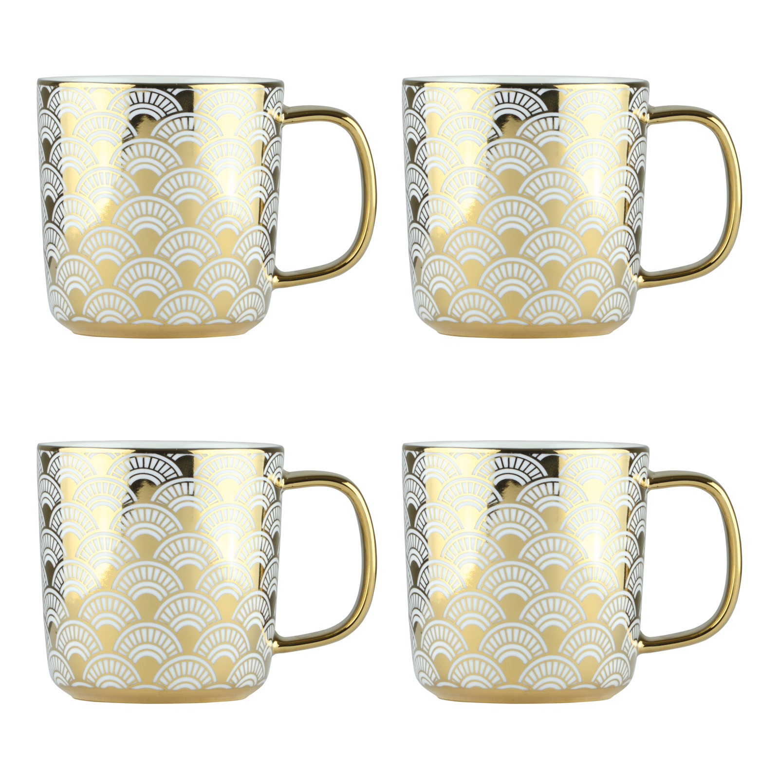 Set of 4 Fan Gold Mugs