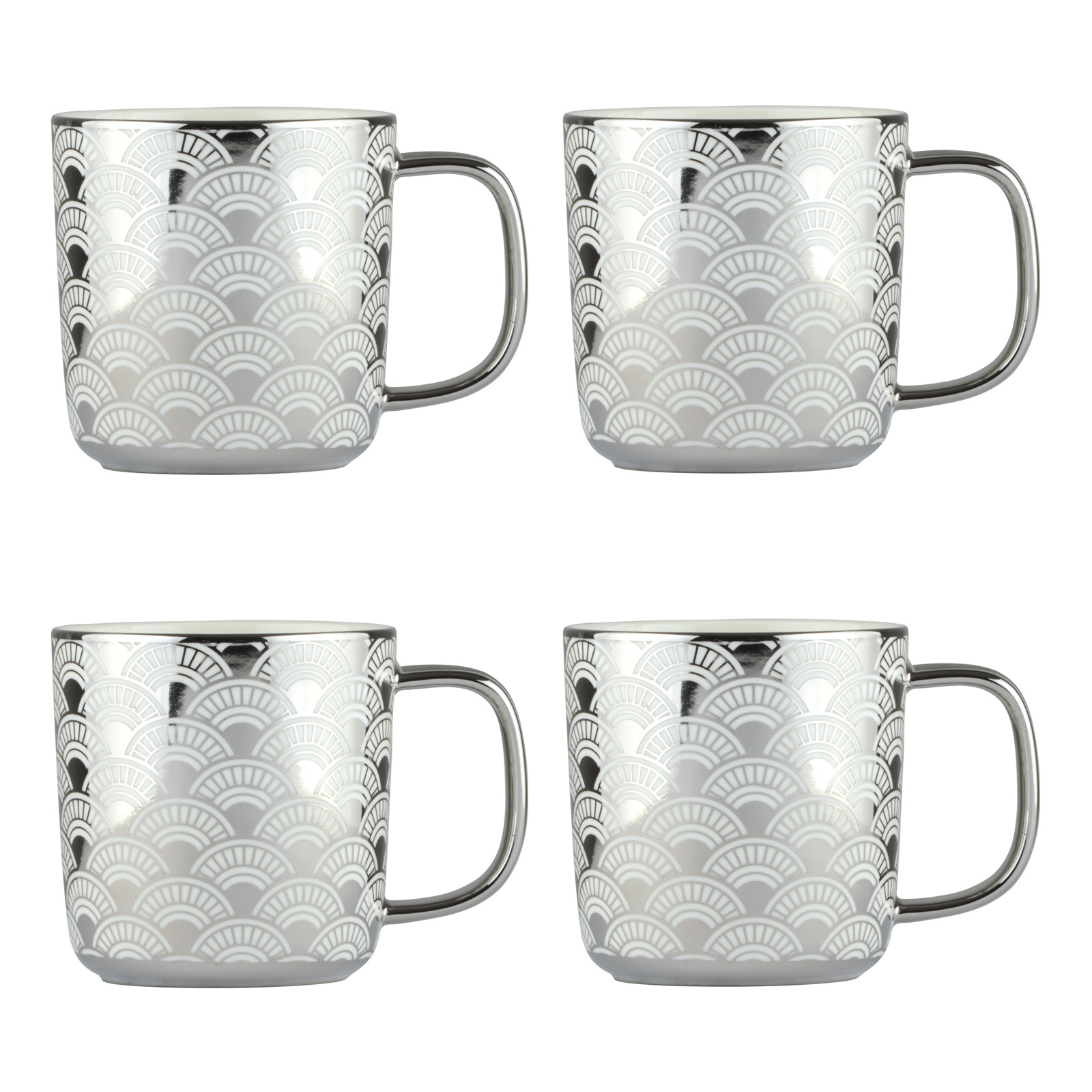 Set of 4 Fan Platinum Mugs