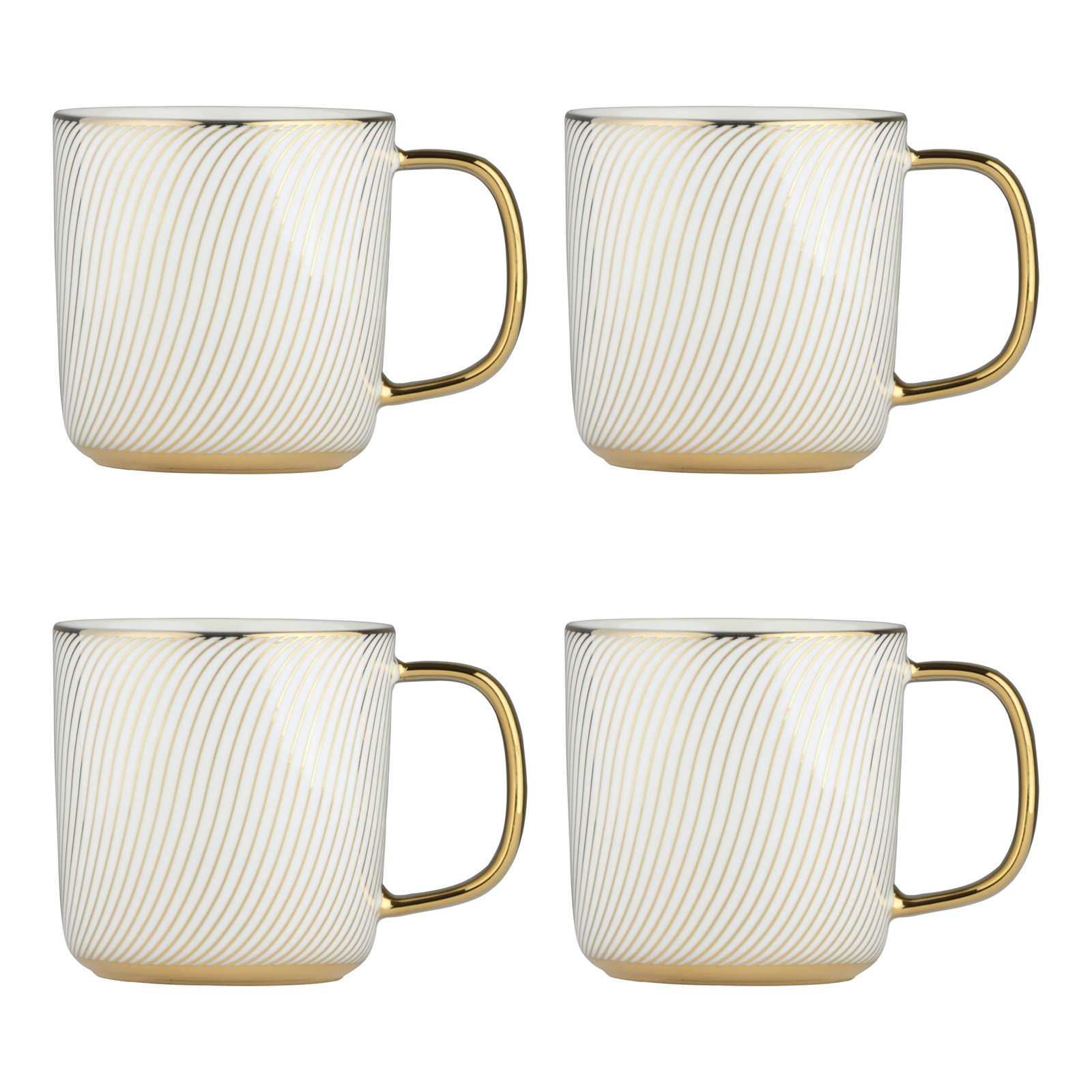 Set of 4 Swirl Gold Mugs