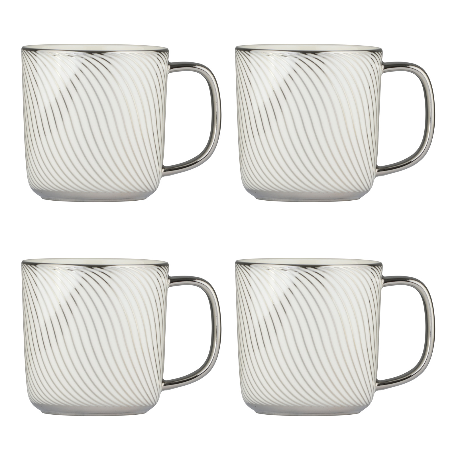 Set of 4 Swirl Platinum Mugs