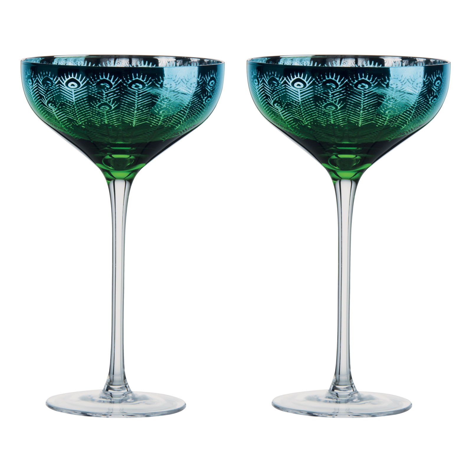 Peacock Champagne Saucers - Set of 2