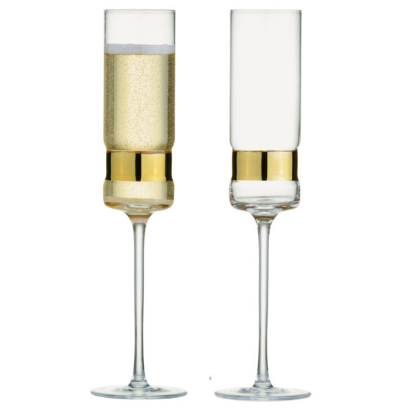 Set of 2 SoHo Champagne Flutes Gold by Anton Studio Designs