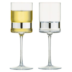 Set of 2 SoHo Wine Glasses Silver by Anton Studio Designs