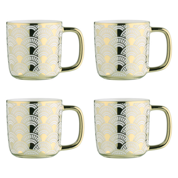 Fan Silver Espresso Mugs - Set of 4
