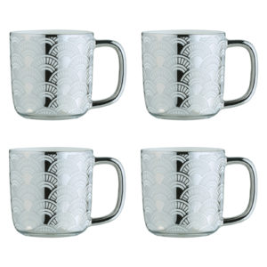 Fan Silver Espresso Mugs - Set of 4