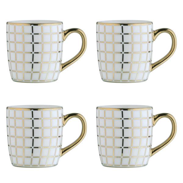 Lattice Gold Espresso Mugs - Set of 4