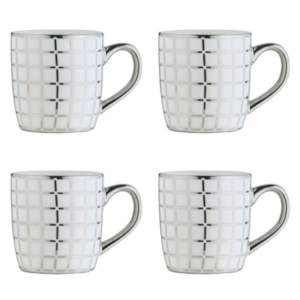 Lattice Silver Espresso Mugs